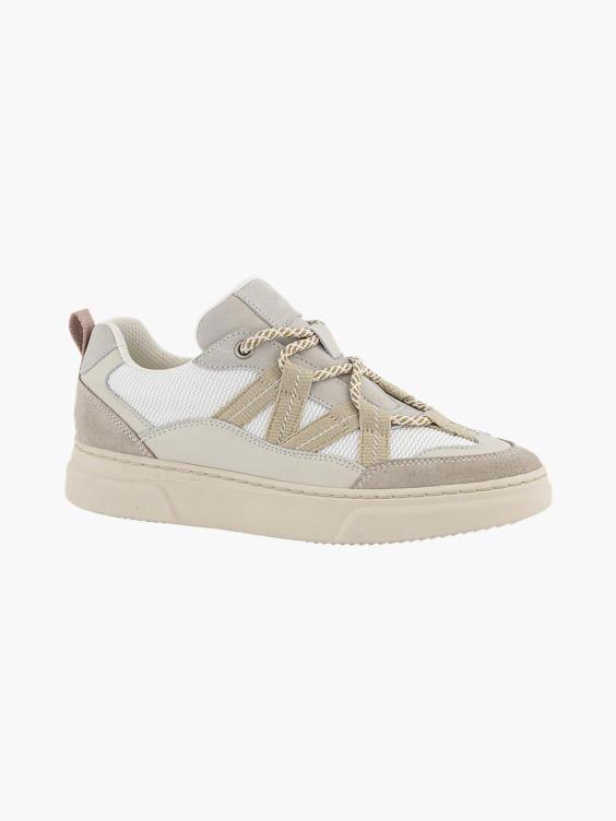 Beige leren sneaker