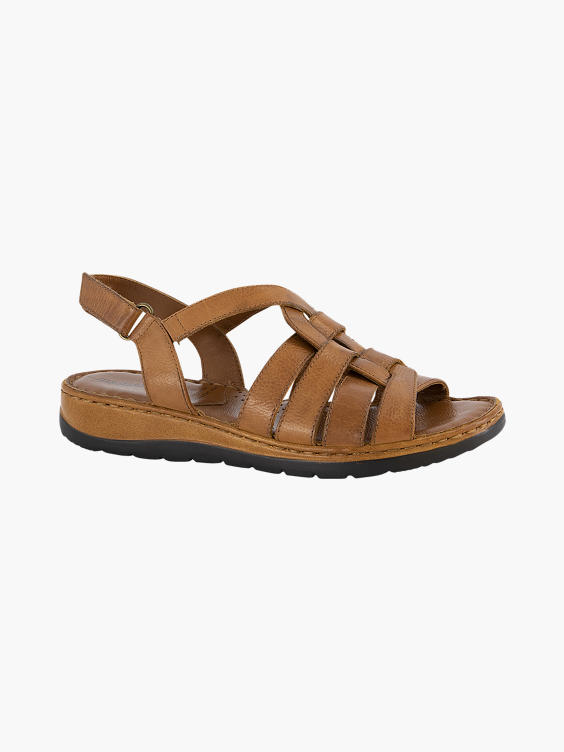 Cognac sandaal klittenband