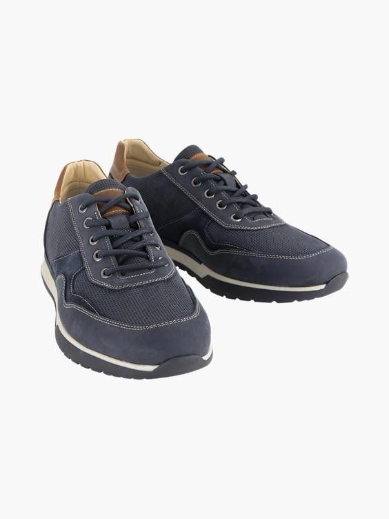 Blauwe leren sneaker
