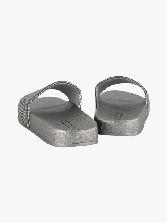 Donkergrijze metallic badslipper