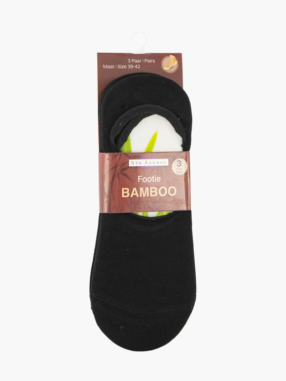 Zwarte Bamboo footie 3 pak mt 34-42