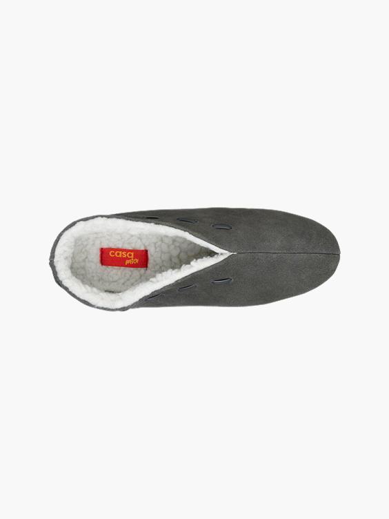 Donker grijze leren spaanse pantoffel warm gevoerd