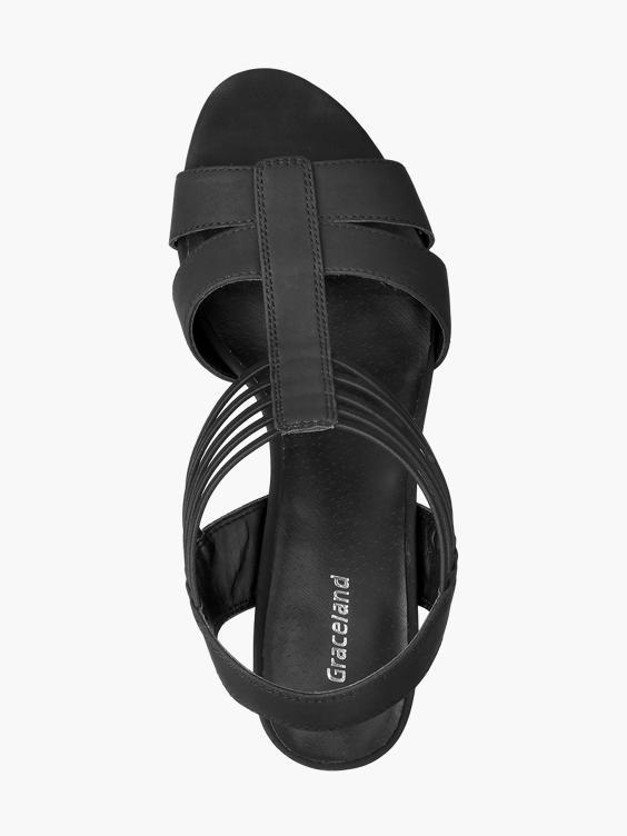 Zwarte sandaal elastiek