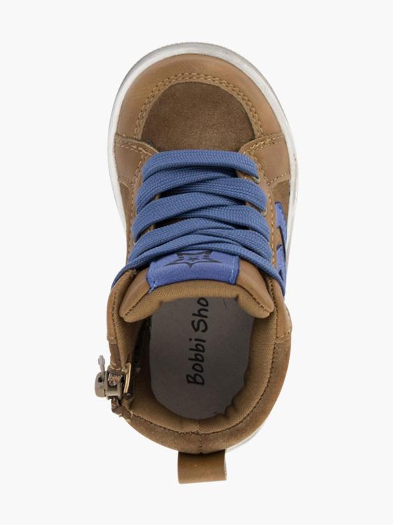 Cognac halfhoge sneaker