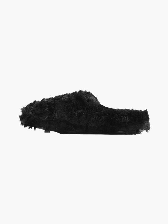 Zwarte instap pantoffel pluche