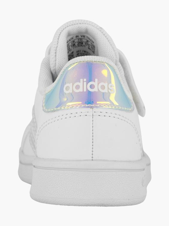 Witte adidas Grand Court sneaker holografisch