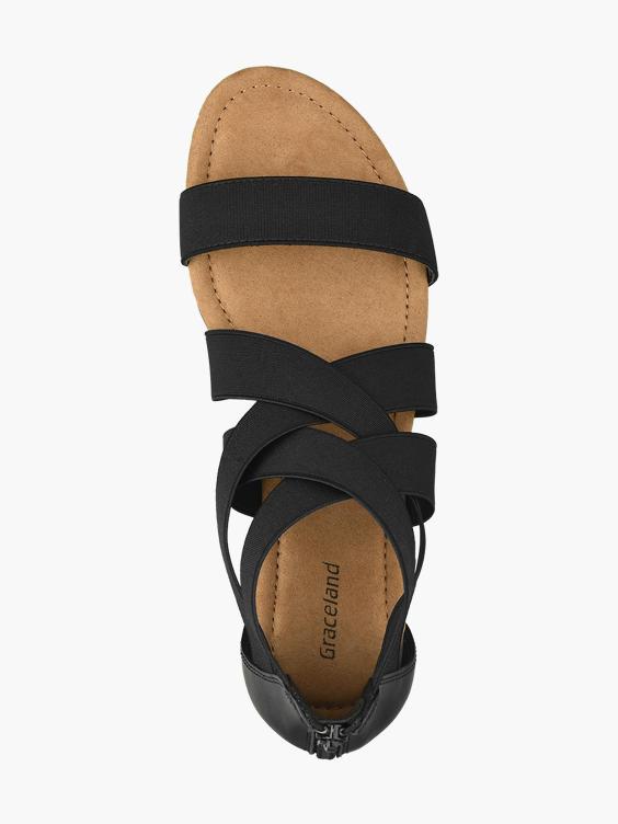 Zwarte sandaal elastisch