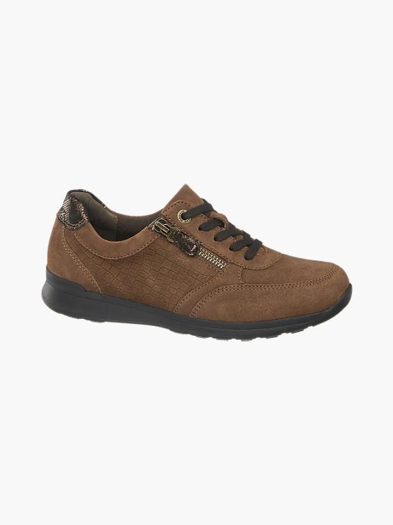 Bruine leren sneaker crocoprint