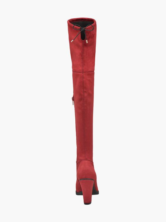 Rode overknee laars