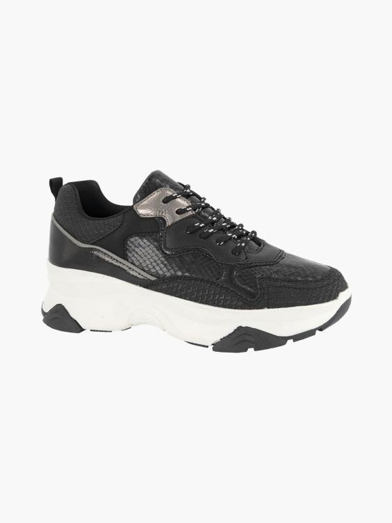 Zwarte chunky sneaker crocoprint