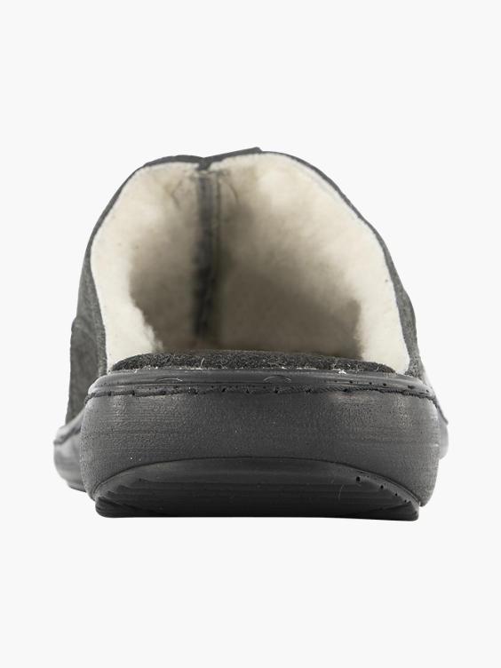 Donker grijze leren instap pantoffel warm gevoerd
