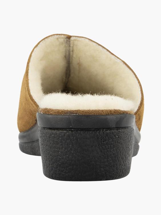 Camel suède instap pantoffel warmgevoerd