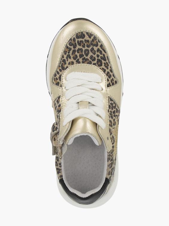 Platina leren chunky sneaker metallic