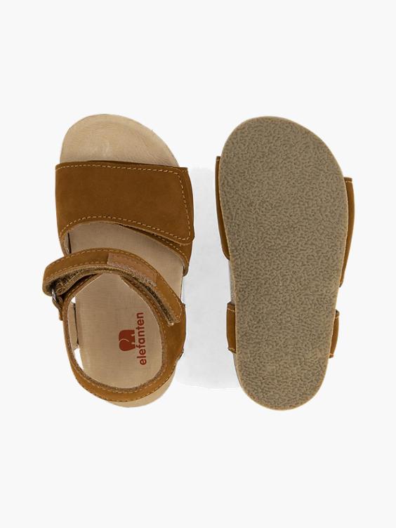 Bruine leren sandaal klittenband