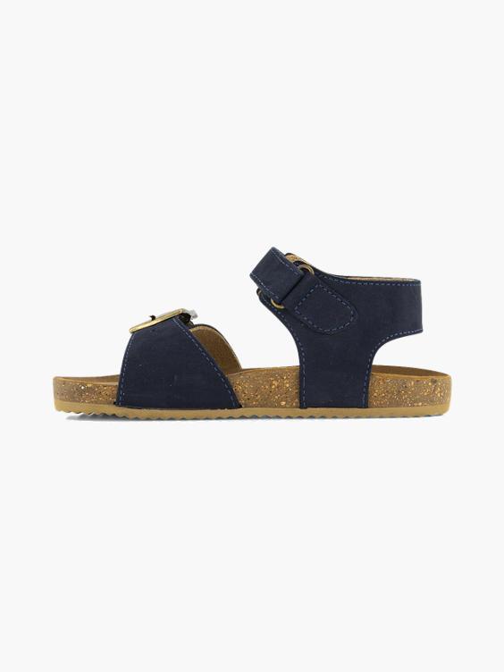 Blauwe leren sandaal klittenband