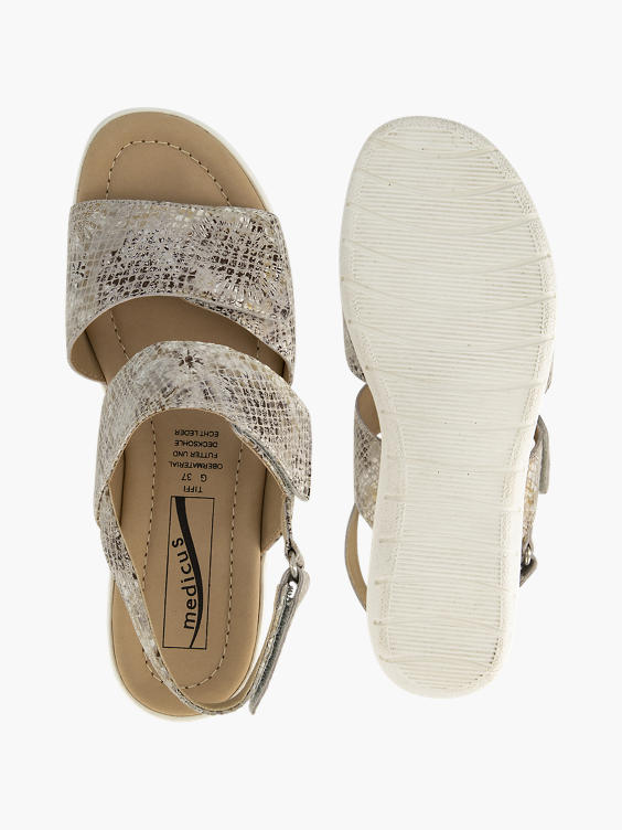 Beige slangenprint sandaal klittenband
