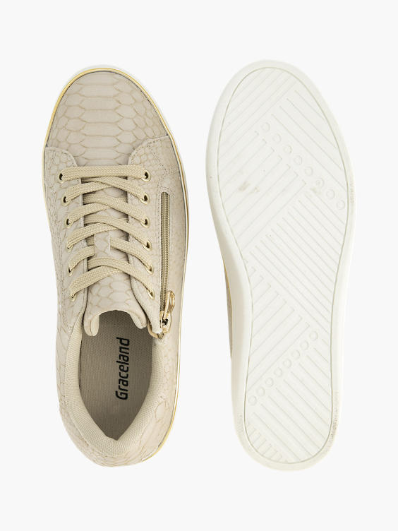 Beige platform sneaker crocoprint