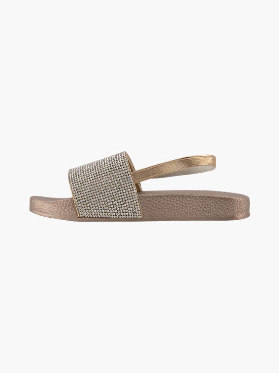 Bronze badslipper elastiek