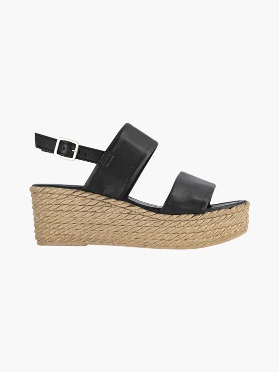 Zwarte leren sandalette