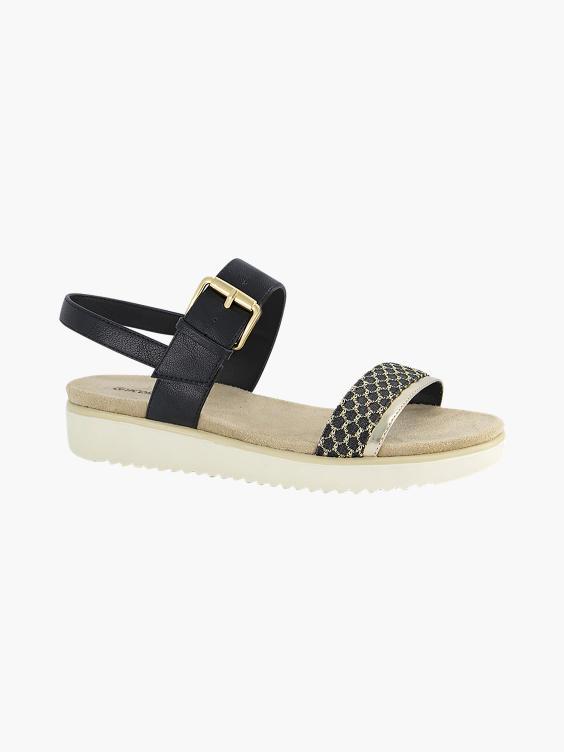 Zwarte sandalette metallic