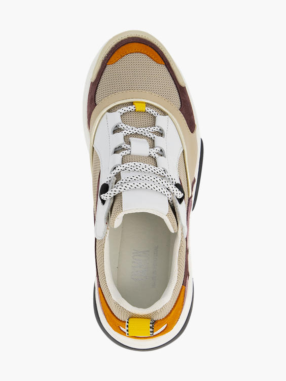 Beige leren chunky sneaker