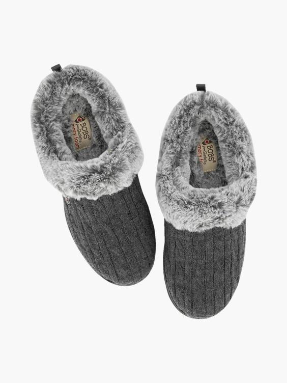 Donkergrijze instap pantoffel warm gevoerd