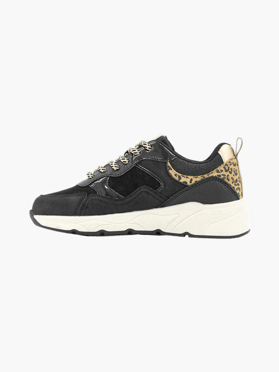 Zwarte chunky sneaker panterprint