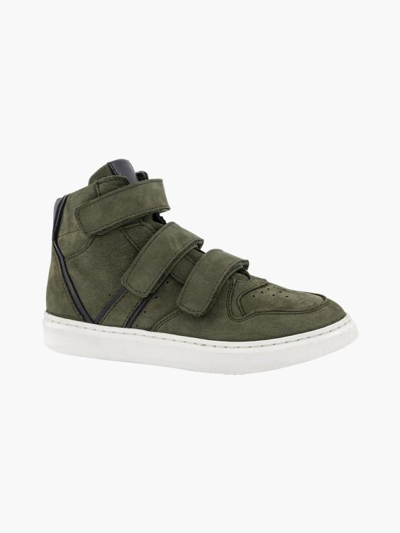 Groene leren hoge sneaker klittenband
