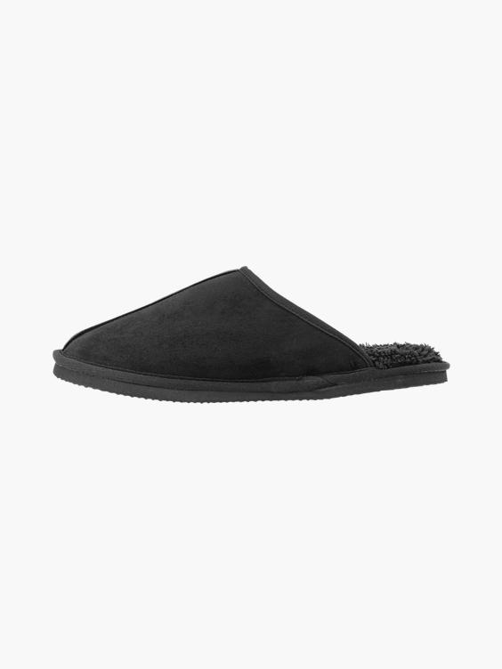 Zwarte instap pantoffel warm gevoerd