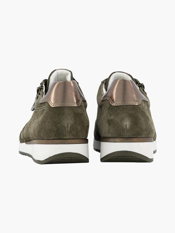 Olijfgroene suède sneaker rits