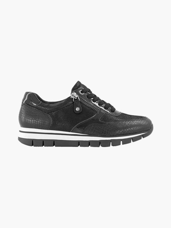 Zwarte leren sneaker croco