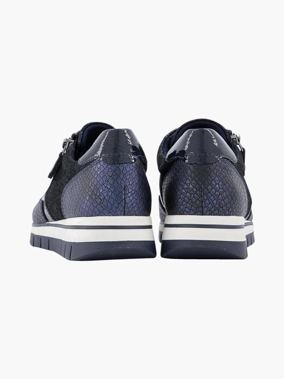Donkerblauwe sneaker croco