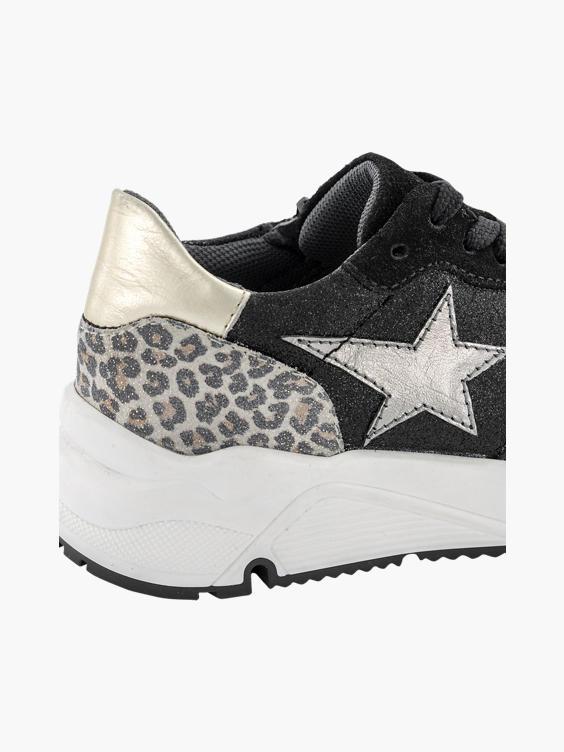 Zwarte leren chunky sneaker glitter