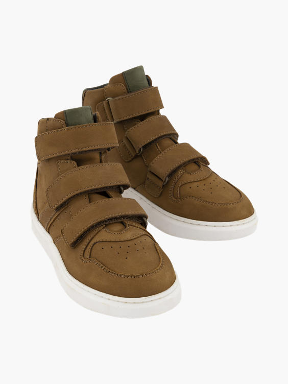 Bruine leren hoge sneaker