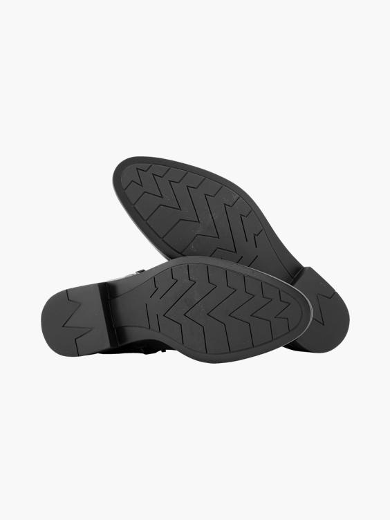 Zwarte enkellaars crocoprint
