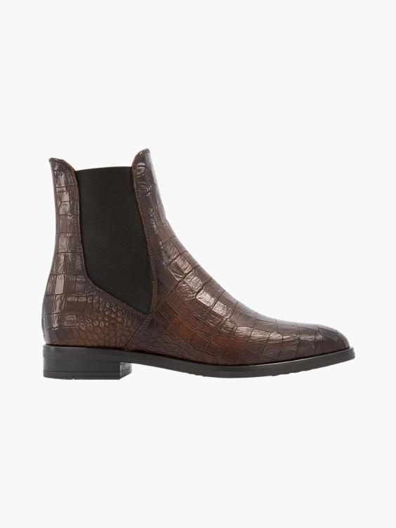 Bruine leren chelsea boot croco