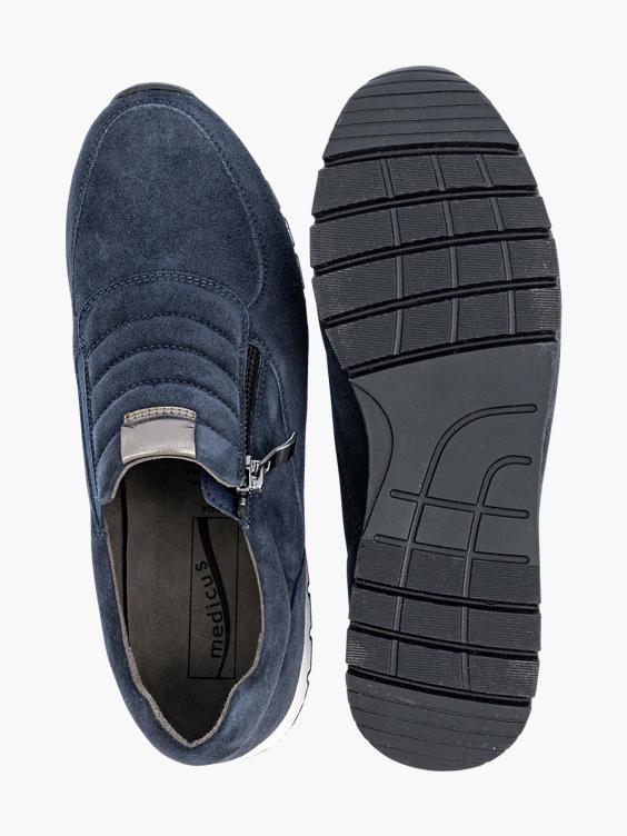 Donkerblauw suède sneaker rits
