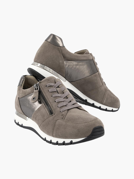 Taupe suède sneaker rits
