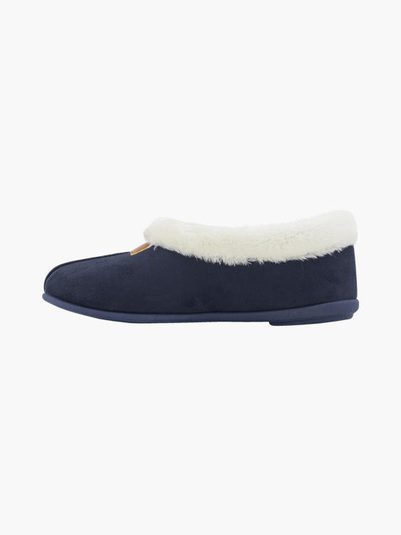 Donkerblauwe pantoffel warmgevoerd