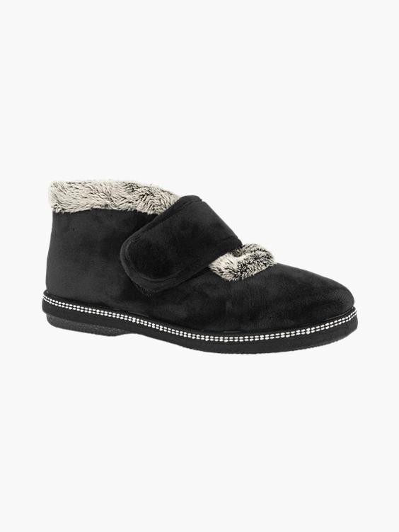 Zwarte pantoffel warmgevoerd