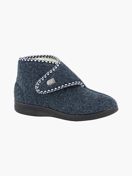 Donkerblauwe pantoffel klittenband