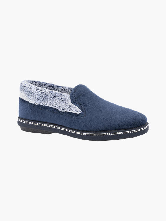 Marine blauwe instap pantoffel imitatie bont