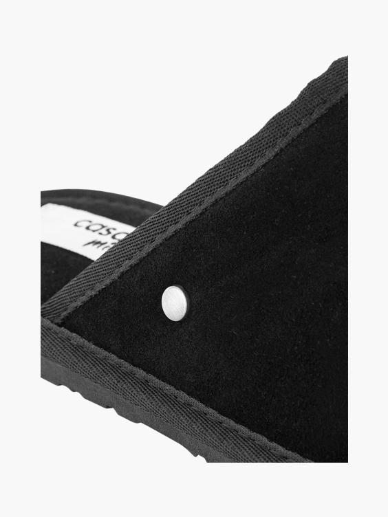 Zwarte leren instap pantoffel warm gevoerd
