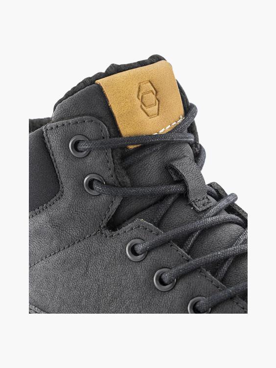 Zwarte leren hoge sneaker warm gevoerd