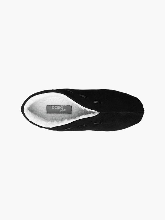 Zwarte leren spaanse pantoffel warm gevoerd