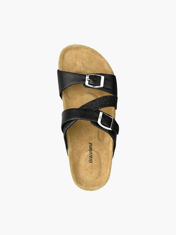 Zwarte slipper leren voetbed