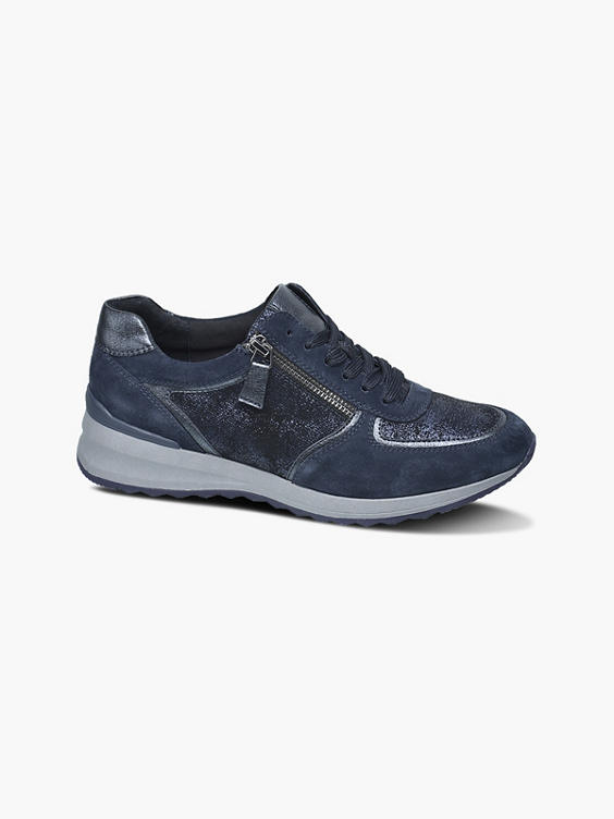 Blauwe leren chunky sneaker
