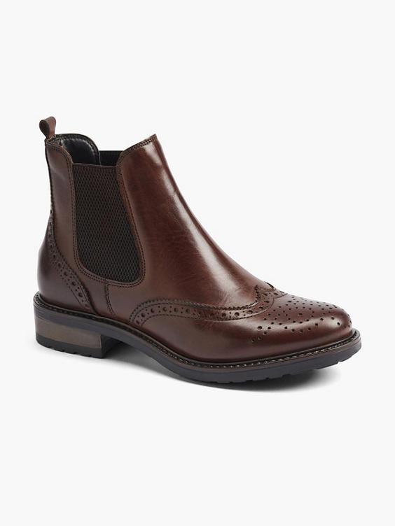 Bruine leren chelsea boot broque