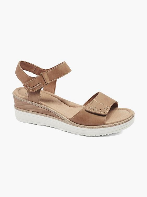 Cognackleurige sandaal klittenband