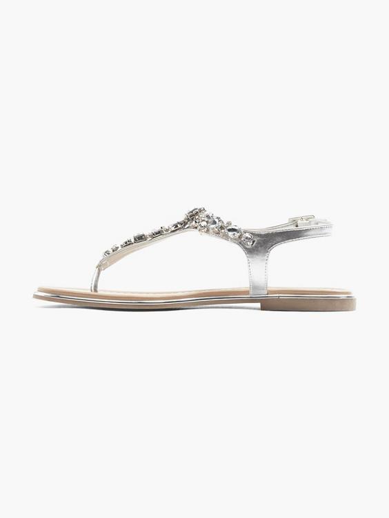 Zilveren sandaal siersteentjes